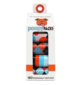 Metro Paws Poopy Packs Orange Multi 8 pack 160 ct Degradable Poop Bags