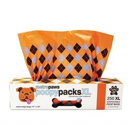 Poopy Packs Orange Argyle XL 250 Compostable Poop Bags