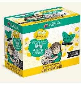 Weruva Best Feline Friend PLAY Chicken Based Slide N' Serve Pate | CASE Chicken & Turkey TipToe Dinner in Puree 3 oz