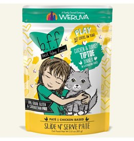 Weruva Best Feline Friend PLAY Chicken Based Slide N' Serve Pate | CASE Chicken & Turkey TipToe Dinner in Puree 3 oz