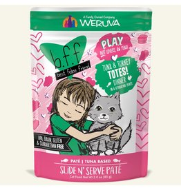 Weruva Best Feline Friend PLAY Tuna Based Slide N' Serve Pate | CASE Tuna & Turkey Totes Dinner in Puree 3 oz
