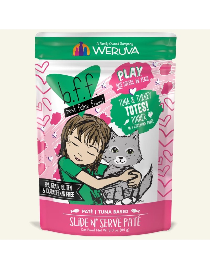 Weruva Best Feline Friend PLAY Tuna Based Slide N' Serve Pate | Tuna & Turkey Totes Dinner in Puree 3 oz single