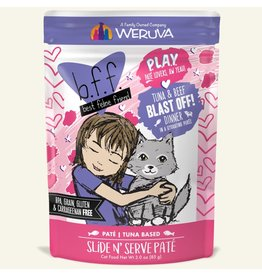 Weruva Best Feline Friend PLAY Tuna Based Slide N' Serve Pate | CASE Tuna & Beef Blast Off Dinner in Puree 3 oz