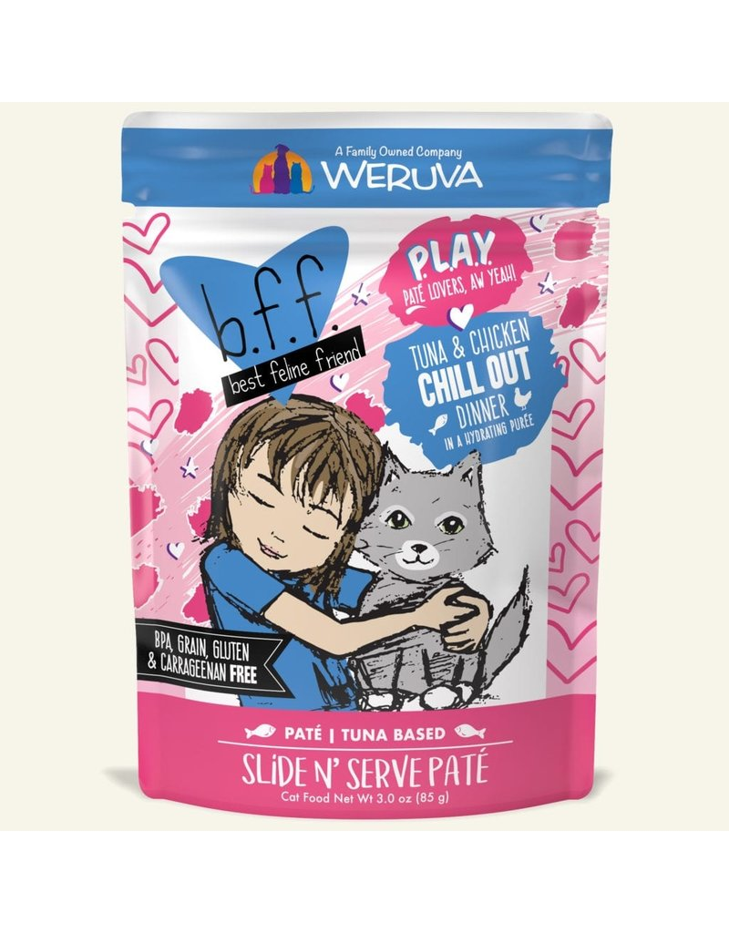 Weruva Best Feline Friend PLAY Tuna Based Slide N' Serve Pate | CASE Tuna & Chicken Chill OutDinner in Puree 3 oz