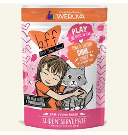 Weruva Best Feline Friend PLAY Tuna Based Slide N' Serve Pate | Tuna & Salmon Shhh... Dinner in Puree 3 oz single