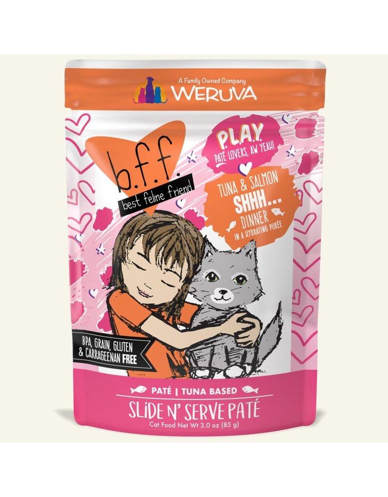 Weruva Best Feline Friend PLAY Tuna Based Slide N' Serve Pate | Tuna & Salmon Shhh... Dinner in Puree 3 oz single