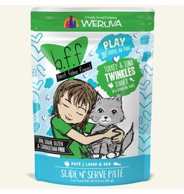 Weruva Best Feline Friend PLAY Land & Sea Slide N' Serve Pate | CASE Turkey & Tuna Twinkles Dinner in Puree 3 oz