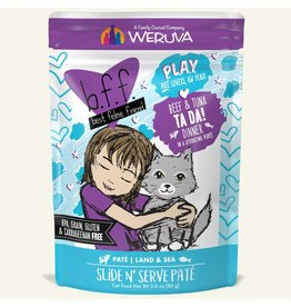 Weruva Best Feline Friend PLAY Land & Sea Slide N' Serve Pate | Beef & Tuna Ta Da! Dinner in Puree 3 oz single