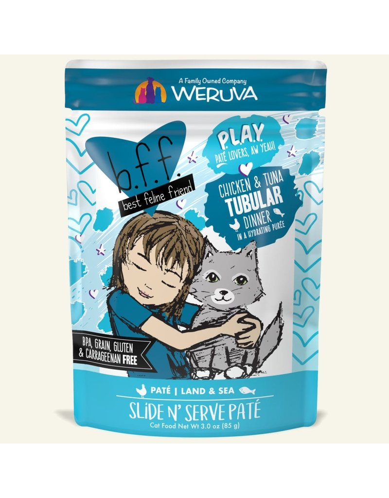 Weruva Best Feline Friend PLAY Land & Sea Slide N' Serve Pate | Chicken & Tuna Tubular Dinner in Puree 3 oz single