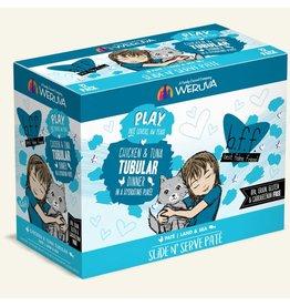 Weruva Best Feline Friend PLAY Land & Sea Slide N' Serve Pate | CASE Chicken & Tuna Tubular Dinner in Puree 3 oz