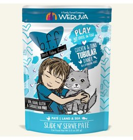 Weruva Best Feline Friend PLAY Land & Sea Slide N' Serve Pate | CASE Chicken & Tuna Tubular Dinner in Puree 3 oz