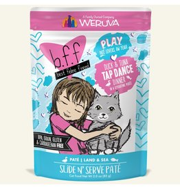 Weruva Best Feline Friend PLAY Land & Sea Slide N' Serve Pate | CASE Duck & Tuna Tap Dance Dinner in Puree 3 oz