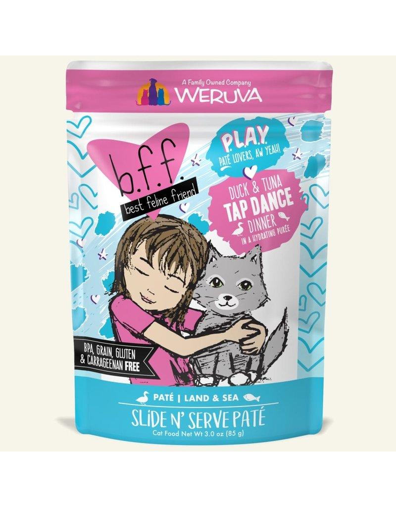 Weruva Best Feline Friend PLAY Land & Sea Slide N' Serve Pate | CASE Duck & Tuna Tap Dance Dinner in Puree 3 oz