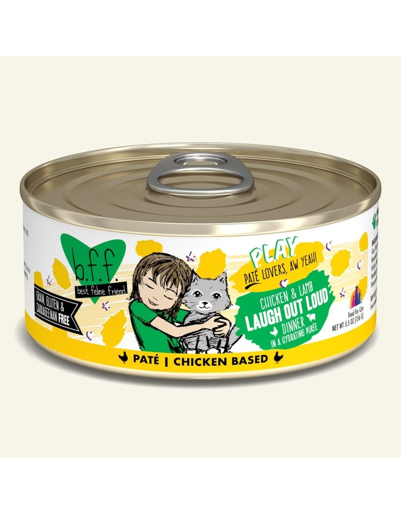 Weruva Best Feline Friend PLAY Chicken Based Pate | Chicken & Lamb Laugh Out Loud Dinner in Puree 5.5 oz single