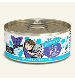 Weruva Best Feline Friend PLAY Land & Sea Pate | Beef & Tuna Tic Toc Dinner in Puree 5.5 oz single