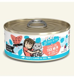 Weruva Best Feline Friend PLAY Land & Sea Pate | Salmon & Tuna Tuck Me In Dinner in Puree 5.5 oz single