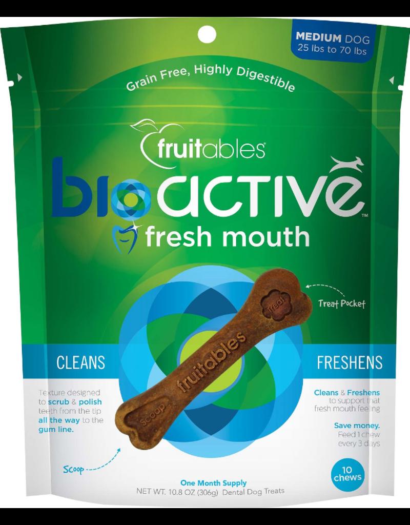 Fruitables Fruitables Dog Functional Hard Treats Bioactive Fresh Mouth Bones Medium 10 Pack 10.8 oz