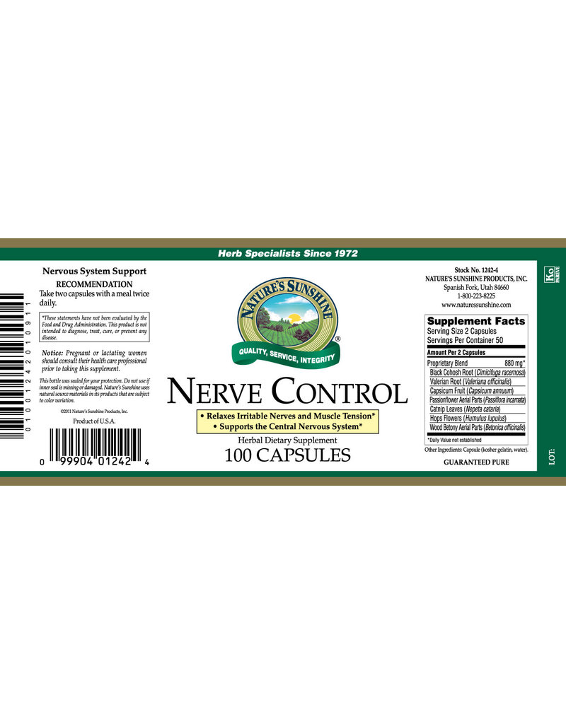 Nature's Sunshine Supplements Nerve Control 100 capsules