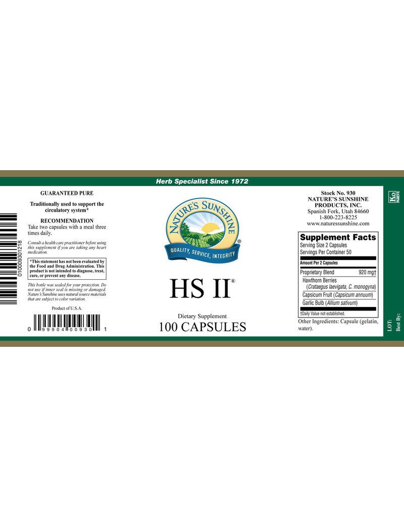 Nature's Sunshine Supplements HS II 100 capsules