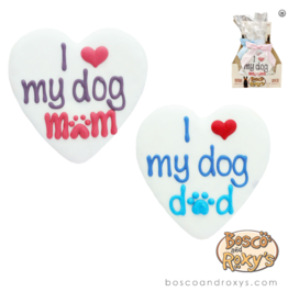 Bosco and Roxy's Bosco & Roxy's Dog I love My Dog Mom/Dad Heart Cookie