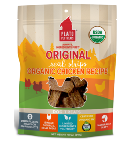 Plato Plato Dog Jerky Treats Organic Chicken Strips 6 oz