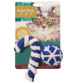 Distinctly Himalayan Distinctly Himalayan 2 Pack Cat Toy Holiday Ball & Cane Blue