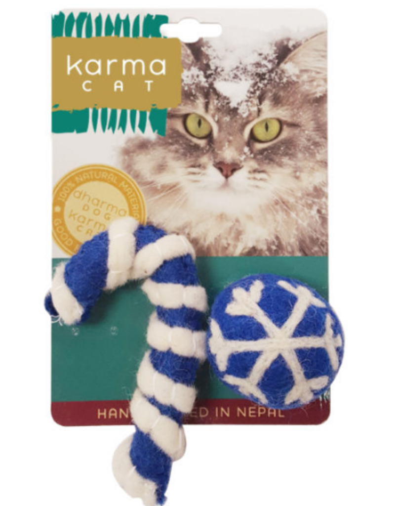 Distinctly Himalayan Distinctly Himalayan Christmas Cat Toy Holiday Ball & Cane Blue 2 pack