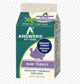 Answer's Pet Food Answers Frozen Cat Food Detailed Turkey 16 oz single (*Frozen Products for Local Delivery or In-Store Pickup Only. *)
