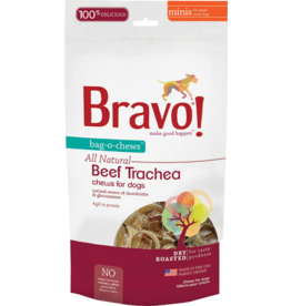 "Bravo Bravo Freeze Dried Dog Treats Bag O Chews  Beef Trachea 3.5"" 4 Pack 4.75 oz"