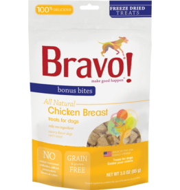 Bravo Bravo Freeze Dried Dog Treats  Chicken Breast Chunks Bonus Bites 3 oz