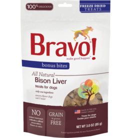 Bravo Bravo Freeze Dried Dog Treats  Bison Liver Bonus Bites 3 oz