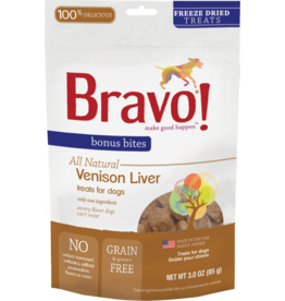 Bravo Bravo Freeze Dried Dog Treats Venison Liver Bonus Bites 3 oz