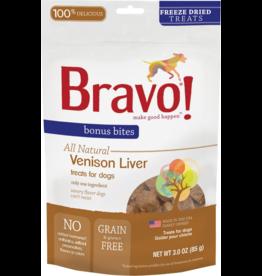 Bravo Bravo Freeze Dried Dog Treats Venison Liver Bonus Bites 3 oz