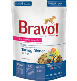 Bravo Bravo Homestyle Complete Dehydrated Dog Food  Turkey 3 oz
