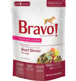 Bravo Bravo Homestyle Complete Dehydrated Dog Food  Beef 3 oz