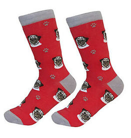 Sock Daddy Sock Daddy Unisex One Size Cotton Socks | Pug Cream & Red