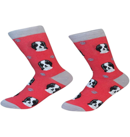 Sock Daddy Sock Daddy Unisex One Size Cotton Socks | Shih Tzu with Red