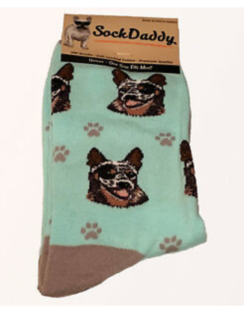Sock Daddy The Pet Beastro Sock Daddy Unisex One Size Cotton Socks | Australian Cattle Dog Custom-Made Dog Breed Socks Machine-Washable Crew Mid-Shin Gift