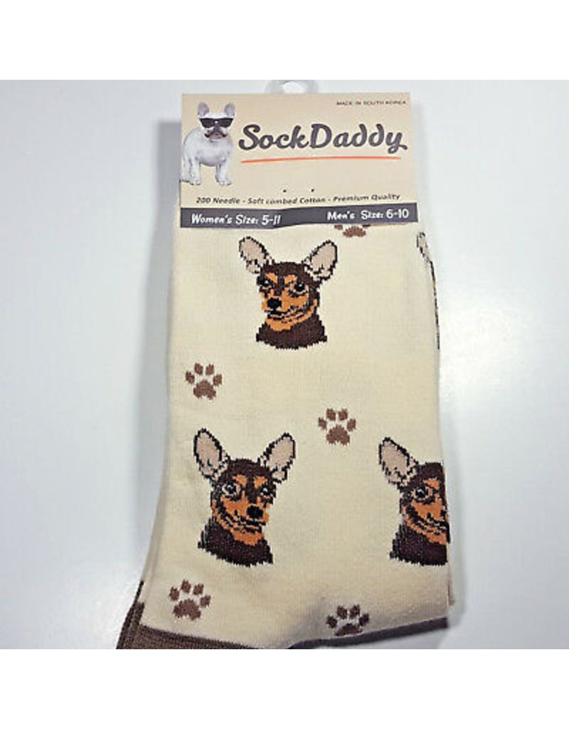 Sock Daddy The Pet Beastro Sock Daddy Unisex One Size Cotton Socks | Chihuahua Brown Custom-Made Dog Breed Socks Machine-Washable Crew Mid-Shin Gift