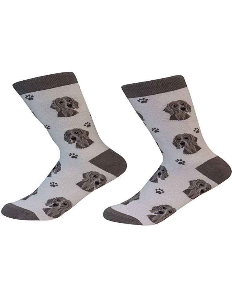 Sock Daddy The Pet Beastro Sock Daddy Unisex One Size Cotton Socks | Weimaraner Custom-Made Dog Breed Socks Machine-Washable Crew Mid-Shin Gift