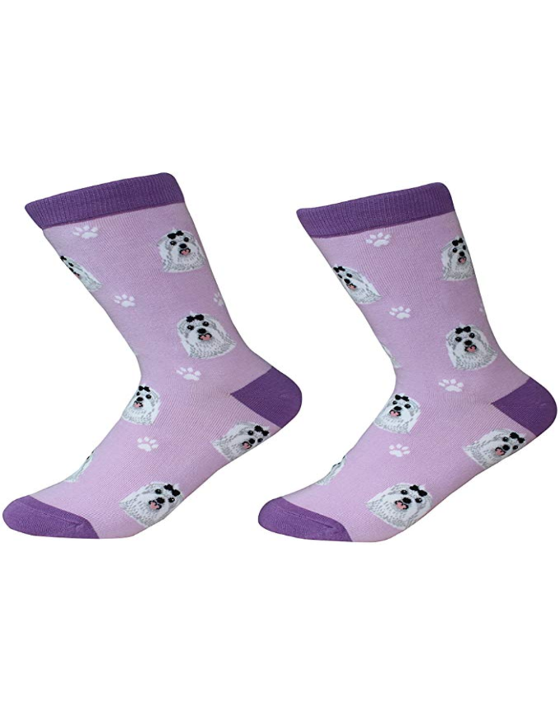 Sock Daddy The Pet Beastro Sock Daddy Unisex One Size Cotton Socks | Maltese Custom-Made Dog Breed Socks Machine-Washable Crew Mid-Shin Gift