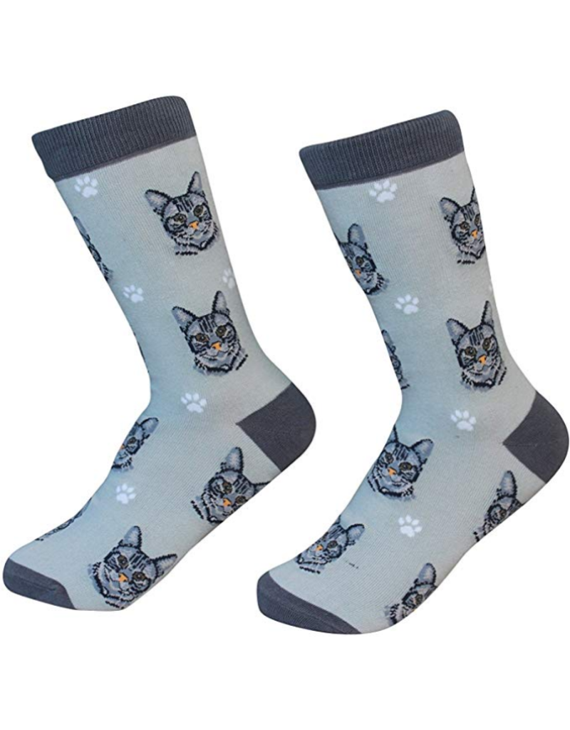 Sock Daddy The Pet Beastro Sock Daddy Unisex One Size Cotton Socks | Tabby Cat Silver Custom-Made Cat Breed Socks Machine-Washable Crew Mid-Shin Gift