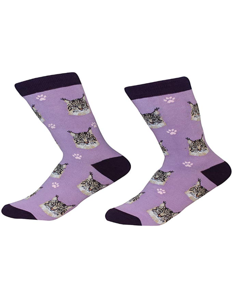 Sock Daddy The Pet Beastro Sock Daddy Unisex One Size Cotton Socks | Maine Coon Custom-Made Cat Breed Socks Machine-Washable Crew Mid-Shin Gift