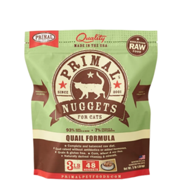 Primal Pet Foods Primal Raw Frozen Nuggets Cat Food Quail 3 lb (*Frozen Products for Local Delivery or In-Store Pickup Only. *)