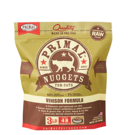 Primal Pet Foods Primal Raw Frozen Nuggets Cat Food Venison 3 lb (*Frozen Products for Local Delivery or In-Store Pickup Only. *)