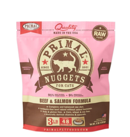 Primal Pet Foods Primal Raw Frozen Nuggets Cat Food Beef & Salmon 3 lb CASE/8 (*Frozen Products for Local Delivery or In-Store Pickup Only. *)