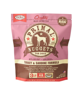 Primal Primal Raw Frozen Nuggets Dog Food Turkey & Sardine 3 lb CASE (*Frozen Products for Local Delivery or In-Store Pickup Only. *)
