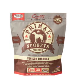 Primal Primal Raw Frozen Nuggets Dog Food Venison 3 lb CASE (*Frozen Products for Local Delivery or In-Store Pickup Only. *)