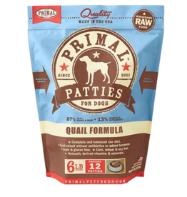 Primal Primal Raw Frozen Patties Dog Food Quail 6 lb (*Frozen Products for Local Delivery or In-Store Pickup Only. *)