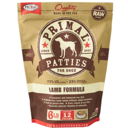 Primal Primal Raw Frozen Patties Dog Food Lamb 6 lb CASE (*Frozen Products for Local Delivery or In-Store Pickup Only. *)
